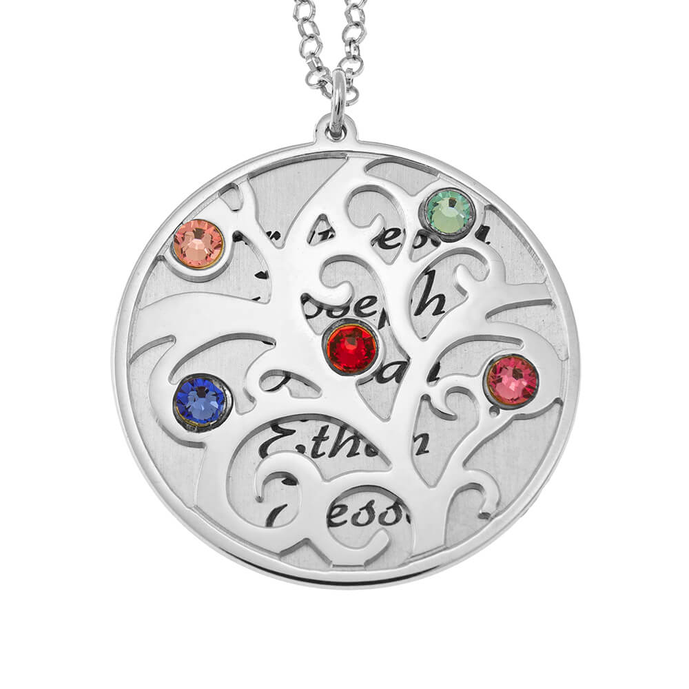Personalized Double Layer Family Tree Collana silver