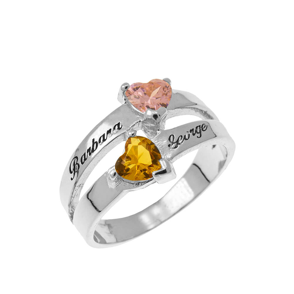 Personalized Cuore-Shaped Birthstone Ring silver