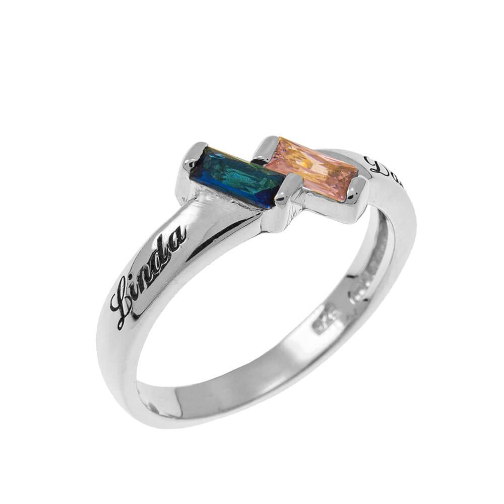 Rectangular Birthstones Ring silver