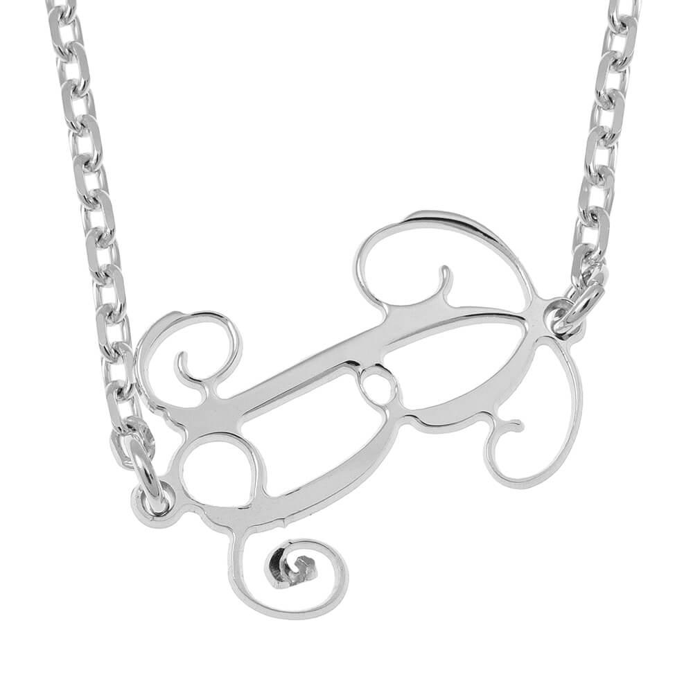 Sideways Initial Monogram Collana silver