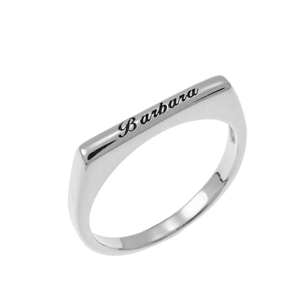 Stackable Rectangular Nome Ring silver
