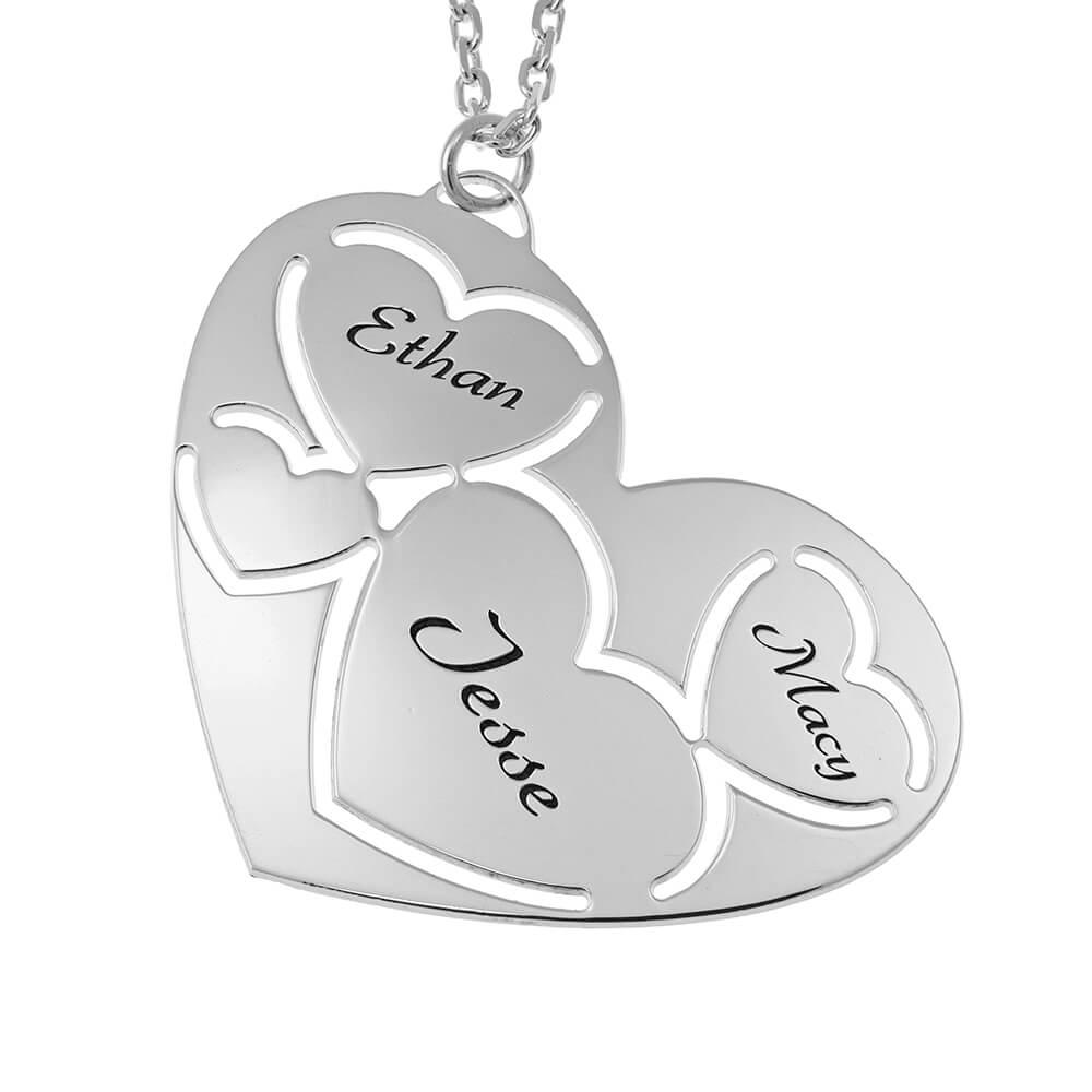 Three Nomi in Cuore Collana silver