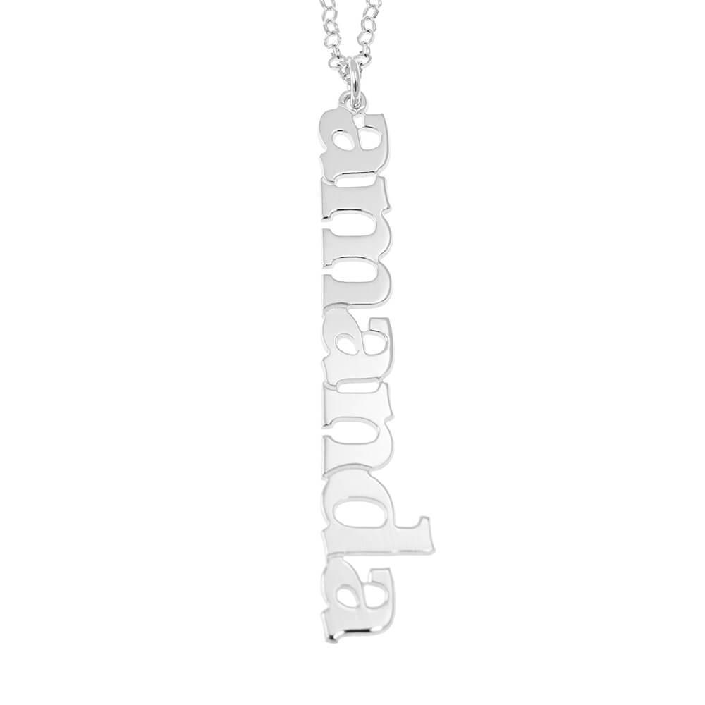 Vertical Design Nome Collana silver