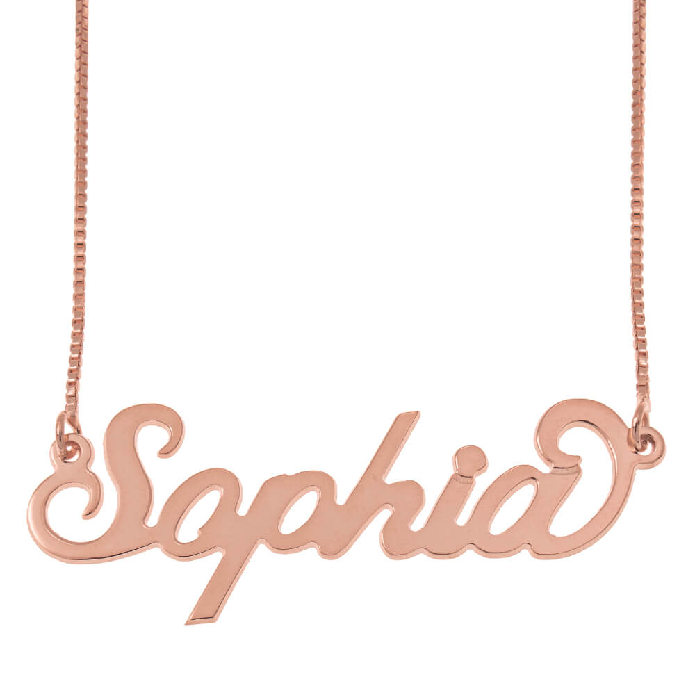 Carrie Nome Collana with Scatola Chain rose gold