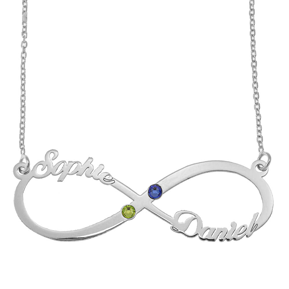 Infinity Cut Out Nome Collana with Birthstones silver