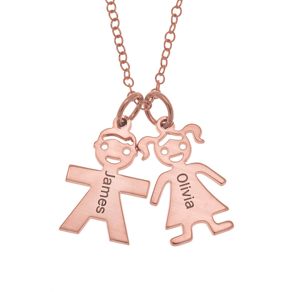Horizontal Mother's Collana with Kids rose gold