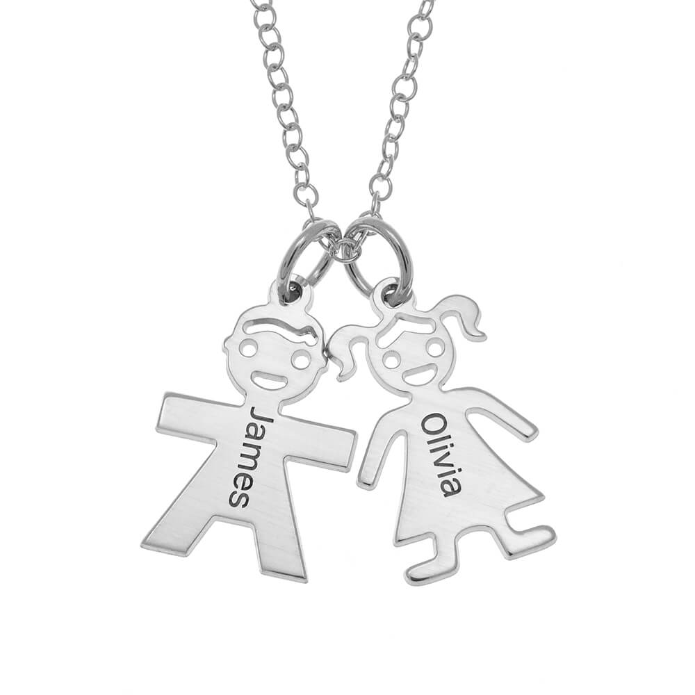 Horizontal Mother's Collana with Kids silver