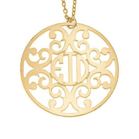 Collana con Cerchio Decorato e Monogramma