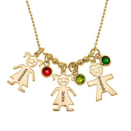 Collana con Ciondoli a Bambini e Pietre Portafortuna per la Mamma
