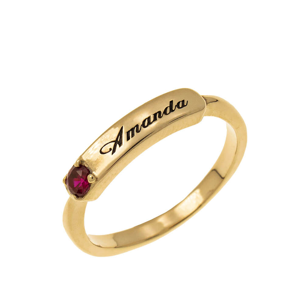 Small Nomeplate Ring With Birthstone gold