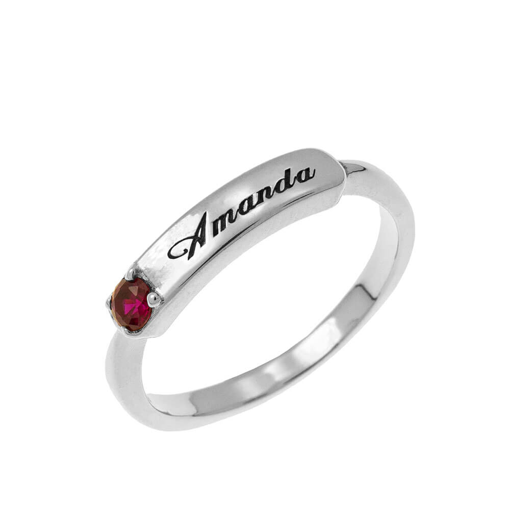 Small Nomeplate Ring With Birthstone silver