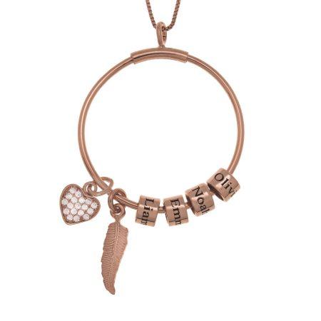 Collana a Cerchi con Perline a Nome, Piuma e Cuore Integrato