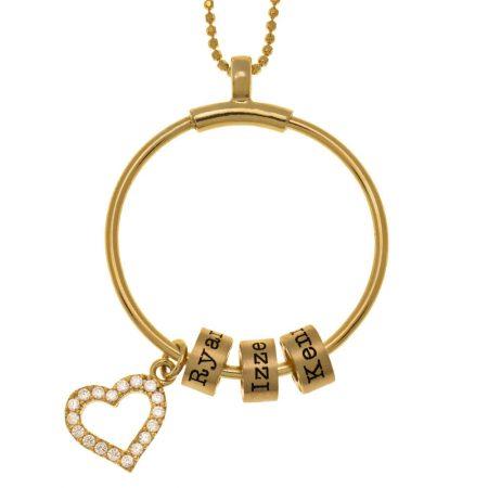 Collana a cerchio con perline con nome e cuore intarsiato