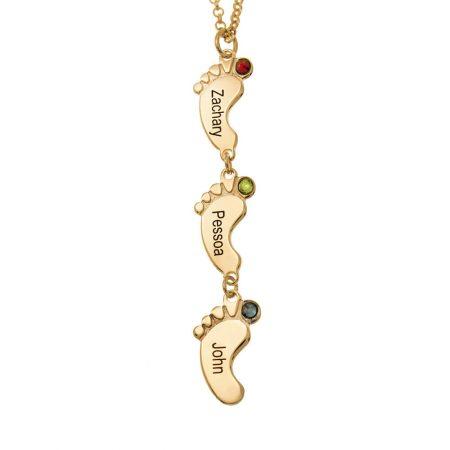 Collana di piedi di bambino verticali con pietre portafortuna