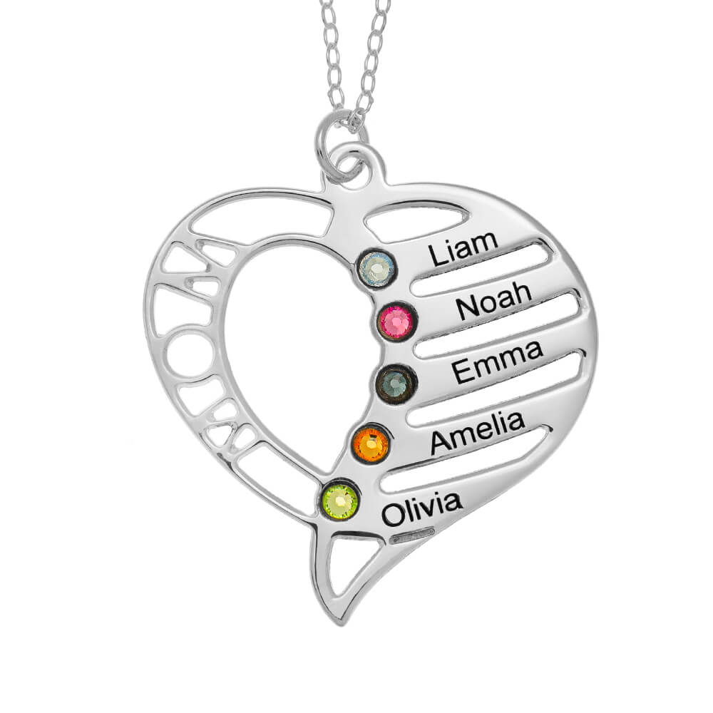 Personalized Mom Heart Necklace with Birthstones silver