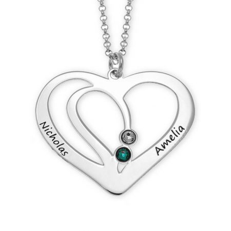 Collana per coppia a forma di cuore con pietre portafortuna