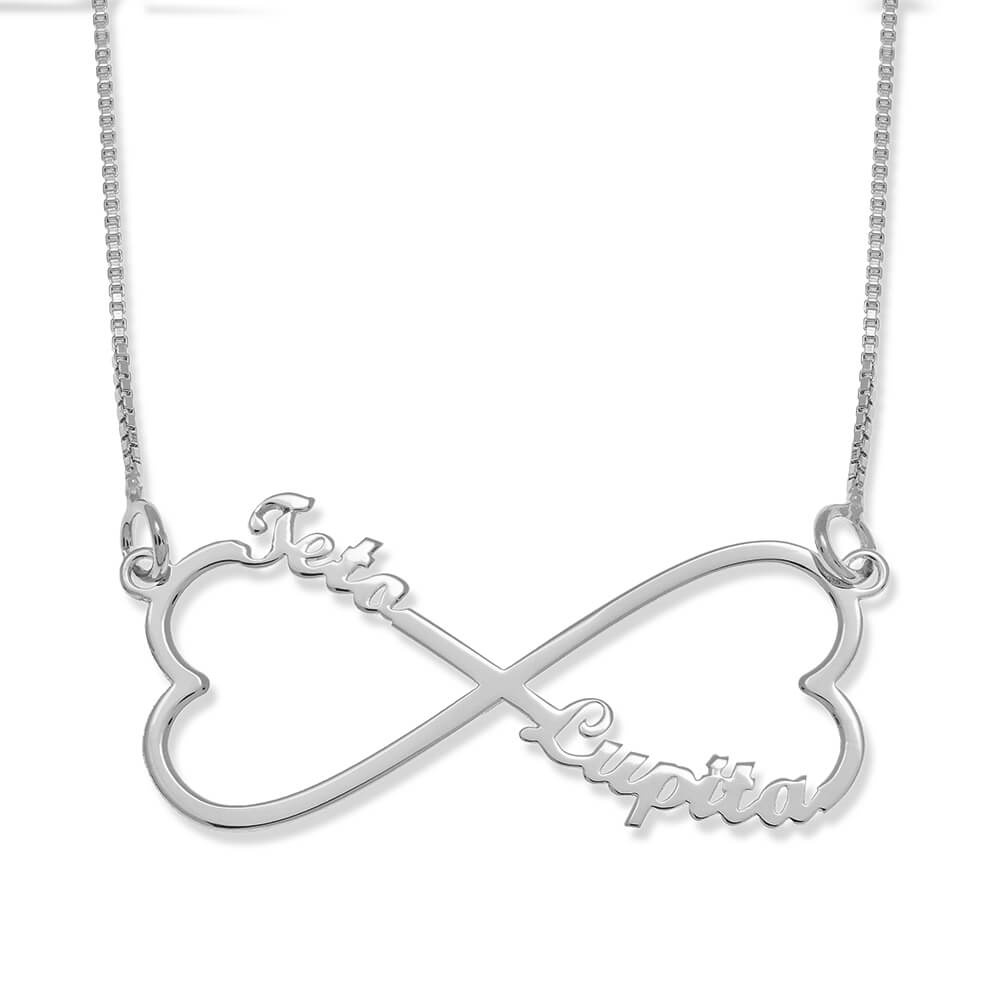 Personalised Infinity Heart Tow Names Necklace silver