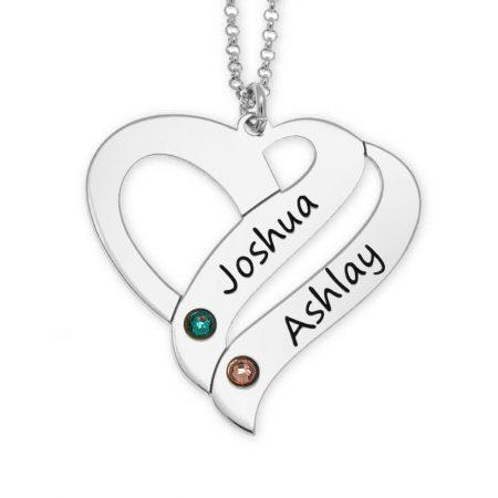 Collana cuore di coppia personalizzata con pietre portafortuna
