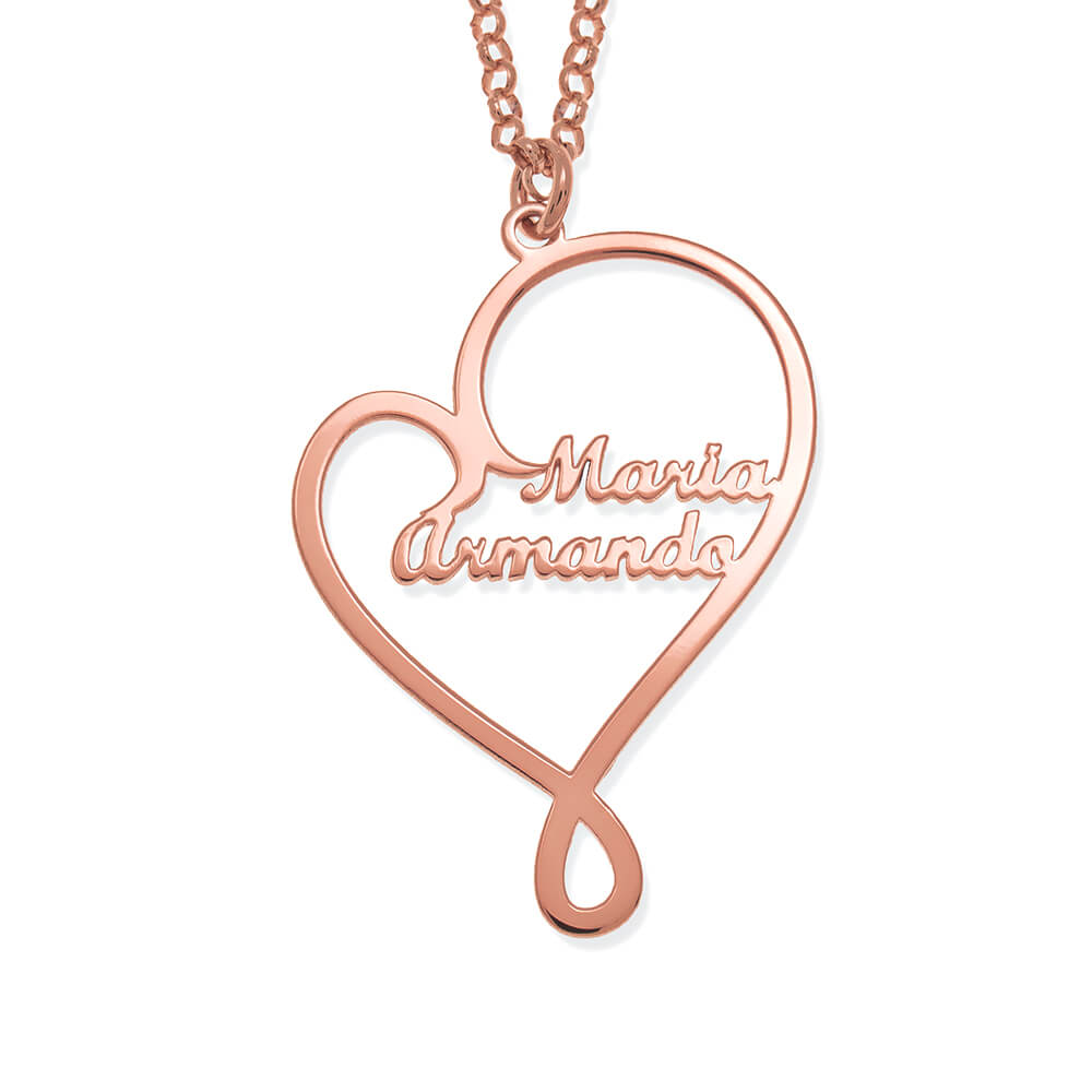 Written With Love Heart Names Necklace rose gold