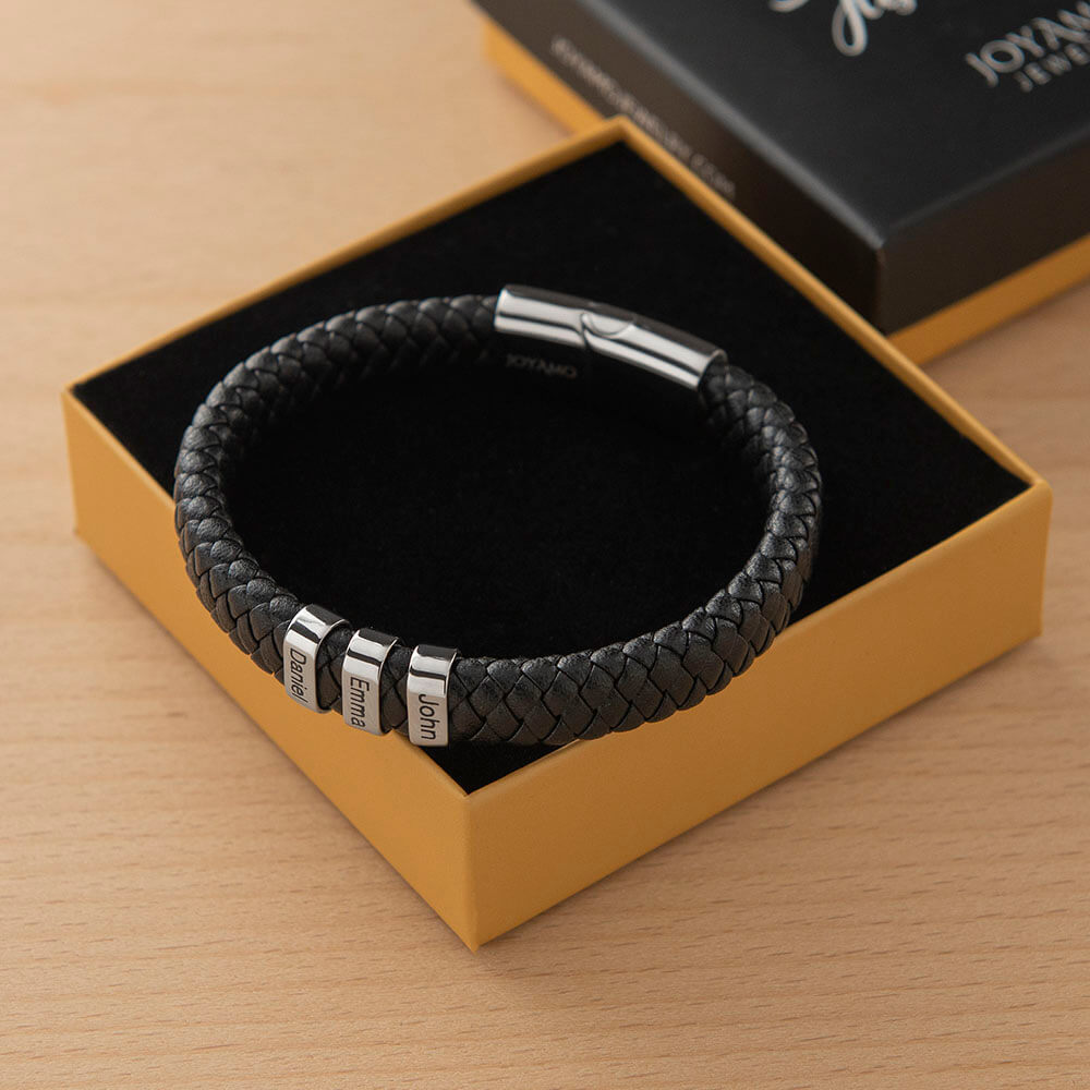 Black Men's Leather Bracelet with Oval Name Beads Box lifestyle