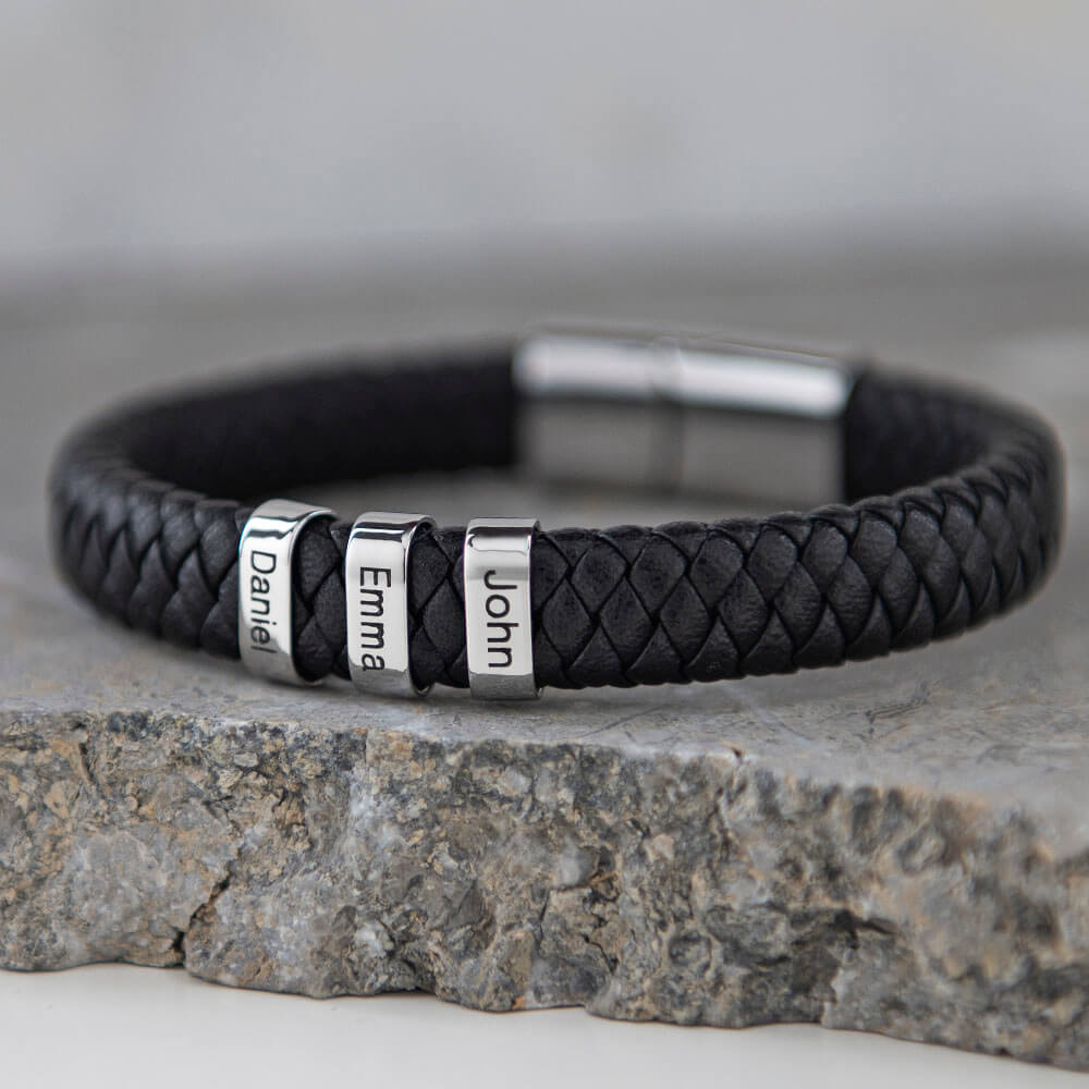 Black Men's Leather Bracelet with Oval Name Beads lifestyle