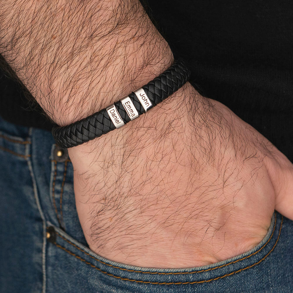 Black Men's Leather Bracelet with Oval Name Beads - on a model
