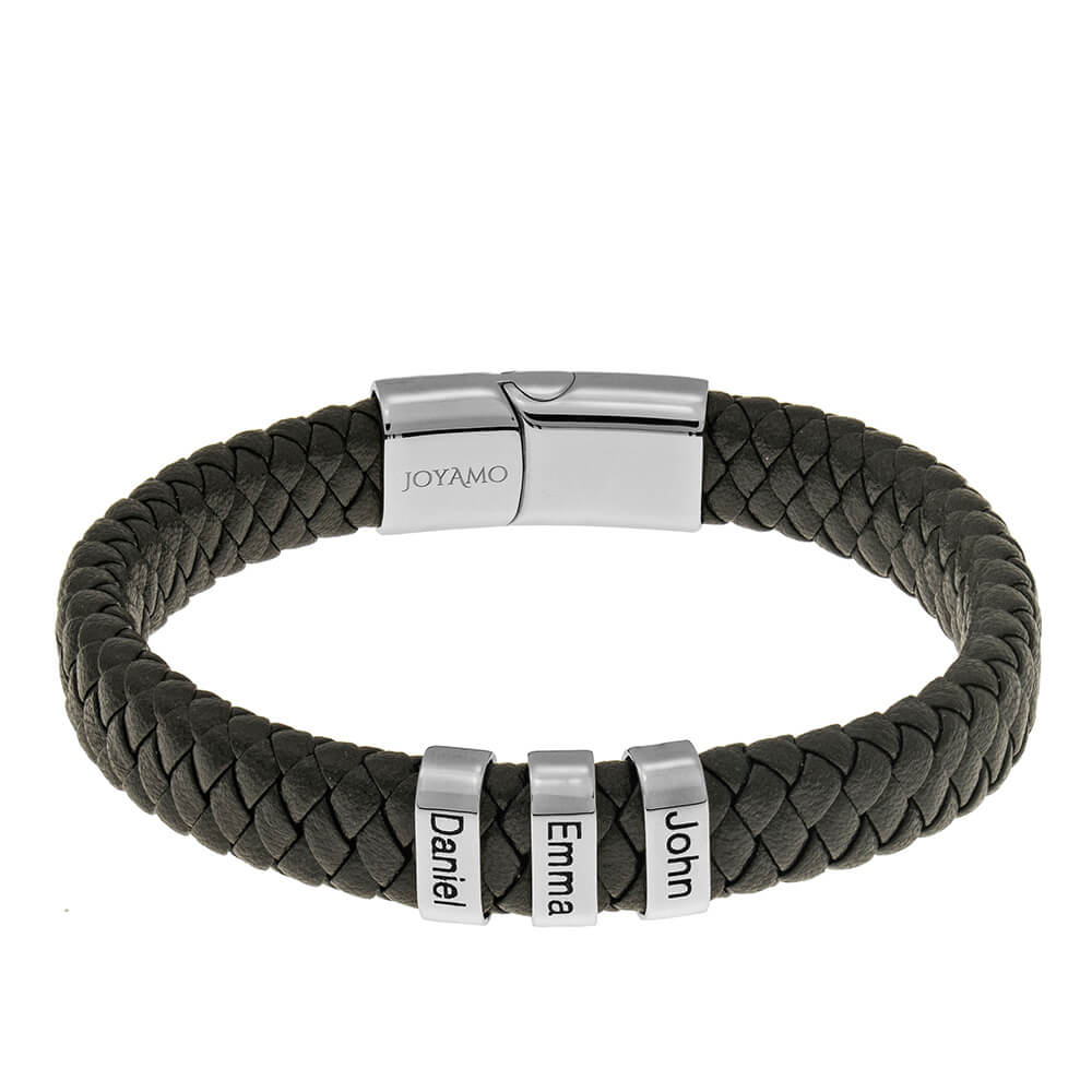 Black Men's Leather Bracelet with Oval Name Beads