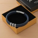 Blue Men's Leather Bracelet with Oval Name Beads Box lifestyle