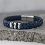 Blue Men's Leather Bracelet with Oval Name Beads lifestyle