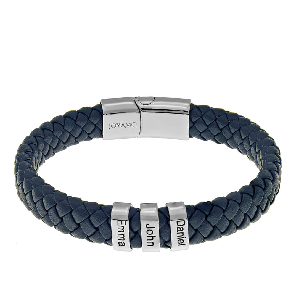 Blue Men's Leather Bracelet with Oval Name Beads